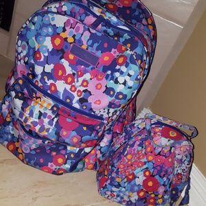 Vera Bradley backpack and lunchbox set